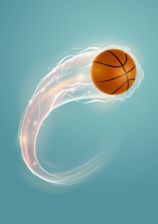 basketball ball: Basketball ball in flames and lights against blue background  Vector illustration