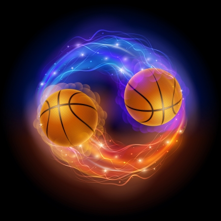 Basketball ball in flames and lights against black background  Vector illustration  Stock Vector - 24906123
