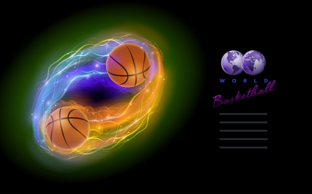 Basketball ball in flames and lights against black background  Vector illustration and design template  Vector
