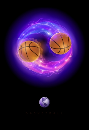 Basketball ball in flames and lights against black background  Vector illustration Stock Vector - 24906124