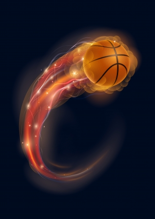 Basketball ball in flames and lights against black background  Vector illustration  Vectores
