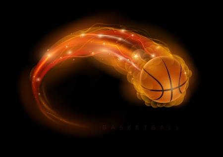 Basketball ball in flames and lights against black background  Vector illustration   イラスト・ベクター素材