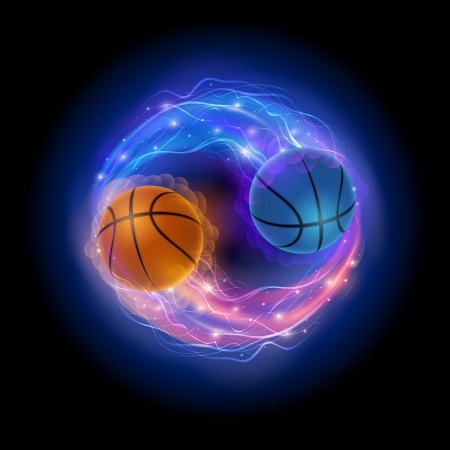 Basketball ball in flames and lights against black background  Vector illustration  Ilustração