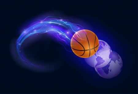 basketball ball on fire: Basketball ball in flames and lights and world spheres against black background  Vector illustration