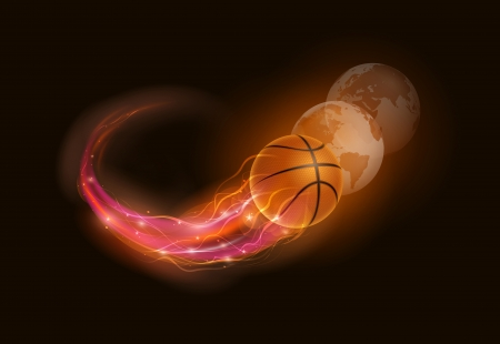 Basketball ball in flames and lights with world spheres against black background  Vector illustration  Stock Vector - 24906128