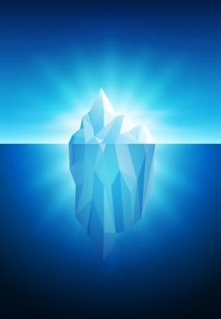 빙산: 빙산의 벡터 일러스트 레이 션의 모든 요소가 벡터 파일에 별도로 계층화된다