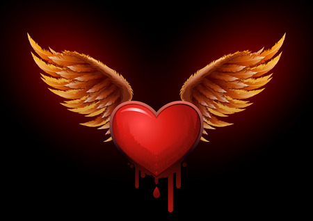 wings vector: Highly detailed vector wings and heart illustration  All elements are layered and grouped in vector file