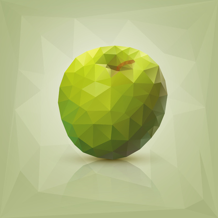 Triangle polygonal green apple illustration  Stock Vector - 25472074