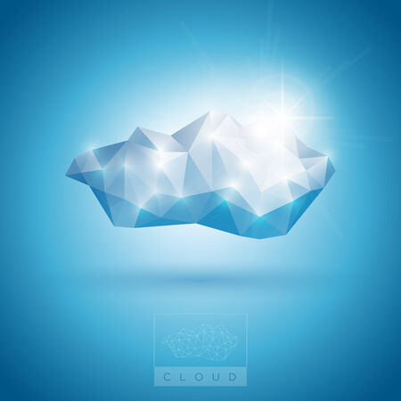 airwaves: Vector illustration of polygonal cloud symbol.