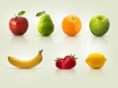 Triangle polygonal fruit illustrations.