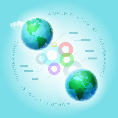 Vector polygon world spheres with colorful spheres. Infographic design template. Elements are layered separately in vector file. Vector