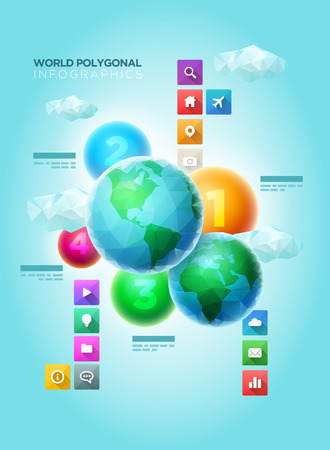 Vector polygon world spheres with colorful spheres and long shadow icons. Infographic design template. Elements are layered separately in vector file.  イラスト・ベクター素材