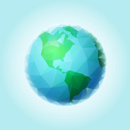 Vector mondo poligonale sfera. Tutti gli elementi sono stratificati separatamente in file vettoriali.
