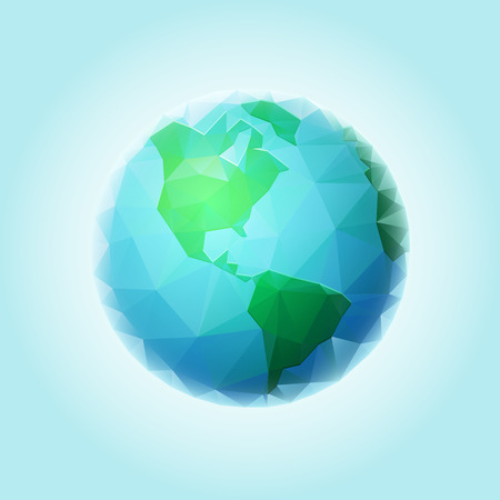 Vector polygonal world sphere. All elements are layered separately in vector file. Vector