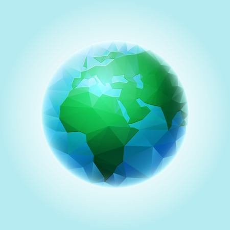 layered sphere: Vector polygonal world sphere. All elements are layered separately in vector file. Illustration