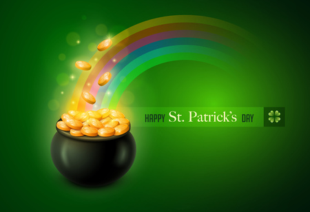 a bowl of gold with rainbow and st. Patricks day wording Vector