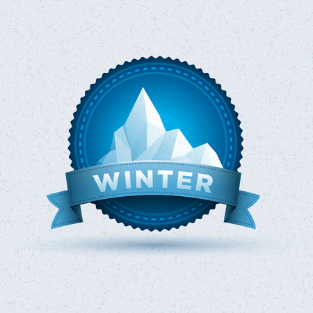 ice climbing: Vector design of winter badge