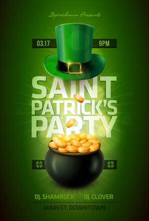 golden pot: St  Patrick s Day Poster Design