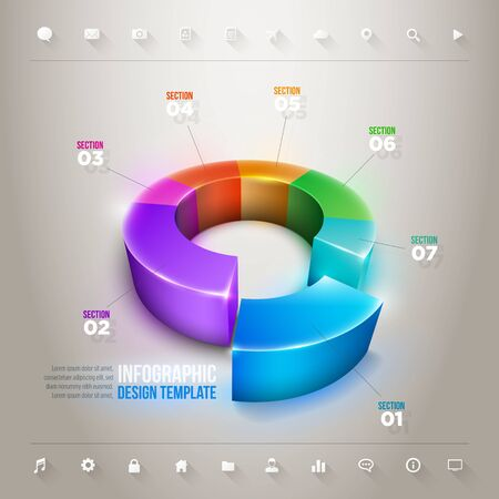 Vector 3d pie chart infographic design template. Elements are layered separately in vector file. Vector