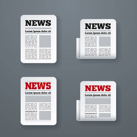 Vector illustration of newspaper icon set. Elements are layered separately in vector file