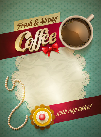Vector cup of coffee and cakes on lace paper background with copy space for your text. View from above. Vector