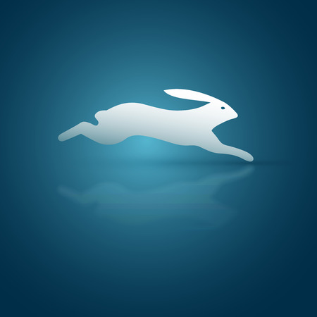 Abstract vector running rabbit symbol. Illustration