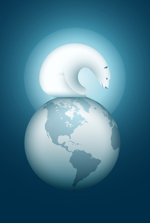 layered sphere: Polar Bear sitting on the World Sphere. Vector illustration. Elements are layered separately in vector file.