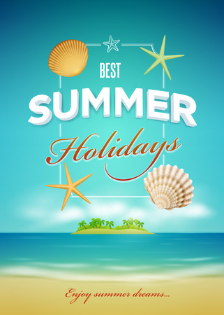 Vector summer related poster design template  Elements are layered separately in vector file