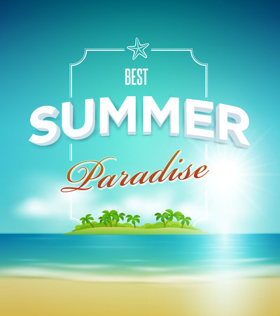 summer beach party: Vector summer paradise poster design template  Elements are layered separately in vector file