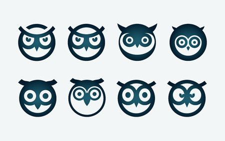 Vector circle based owl head symbol set