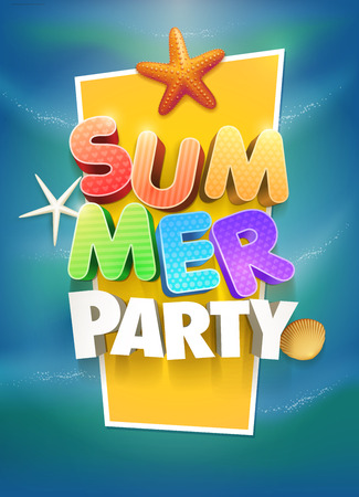 fest: Summer Party Poster design template. Elements are layered separately in vector file.