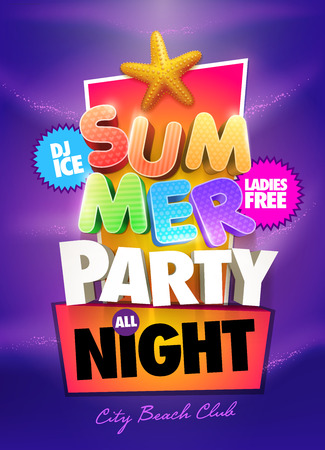 Summer Party Poster design template. Elements are layered separately in vector file. Vector