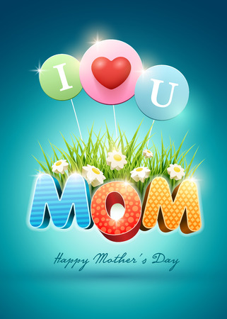 Mothers Day Poster design template. Elements are layered separately in vector file.