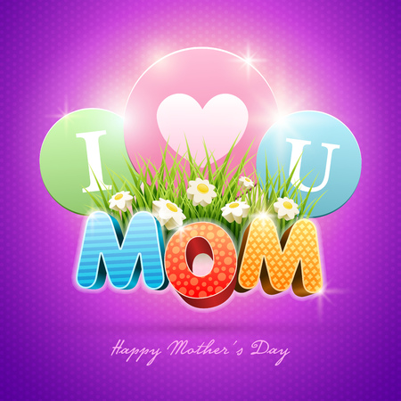 Mothers Day Poster design template. Elements are layered separately in vector file. Vector