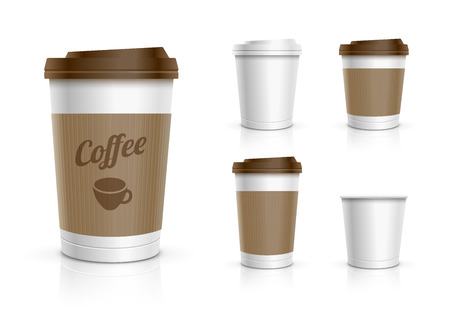 Disposable coffee cups collection Vector