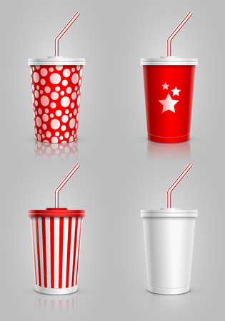 soft object: Disposable cups for beverages with straw collection Illustration