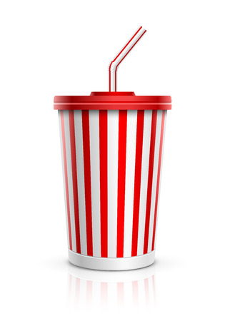 Disposable cup for beverages with straw