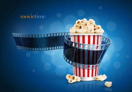 Films: Camera film strip and popcorn on blue defocus background Illustration