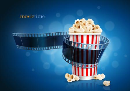 Camera film strip and popcorn on blue defocus background Vectores