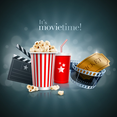 Boîte de pop-corn, tasse jetable pour boissons avec de la paille, bande de film, billet et clap Banque d'images - 27878598