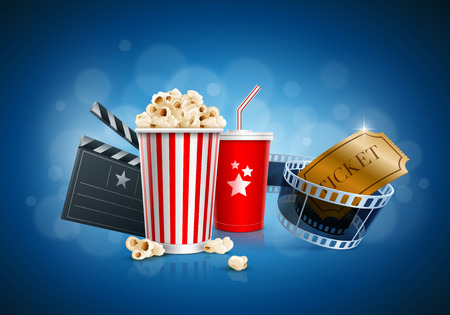 Popcorn box; Disposable cup for beverages with straw, film strip, ticket and clapper board. Detailed vector illustration. EPS10 file.