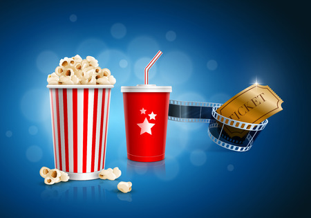 Popcorn box, Disposable cup for beverages with straw, film strip and ticket Stock Illustratie