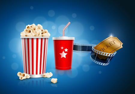 Scatola di popcorn, Tazza a gettare per le bevande con paglia, striscia di pellicola e biglietto Archivio Fotografico - 27878600
