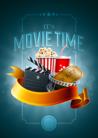 movie poster: Popcorn box, Disposable cup for beverages with straw, film strip, ticket and clapper board. Poster design template