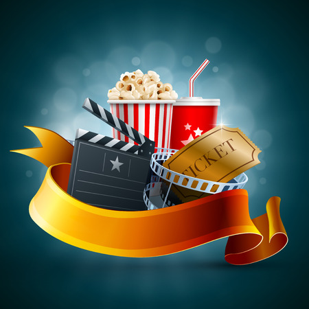 Popcorn box, Disposable cup for beverages with straw, film strip and ticket Illustration