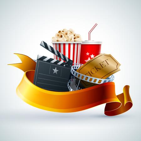 rollo pelicula: Caja de palomitas de maíz, una taza desechable para bebidas con la paja, tira de película, boleto y tarjeta de chapaleta Vectores