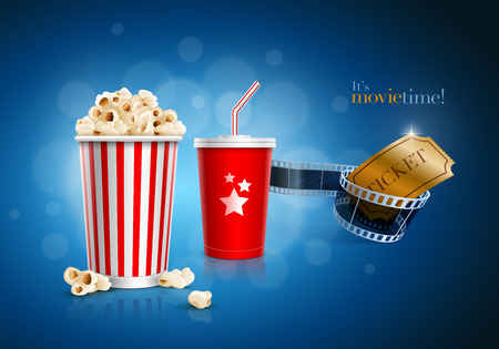 Popcorn box, Disposable scoop for beverages with straw, film strip and ticket Illustration