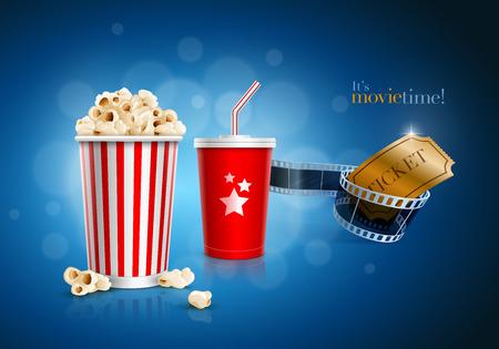 Popcorn-Box, Einweglöffel für Getränke mit Stroh, Filmstreifen und Ticket Standard-Bild - 27878341