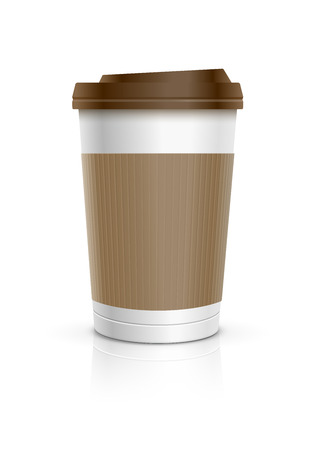 cup of coffee: Disposable coffee cup. Vector illustration.