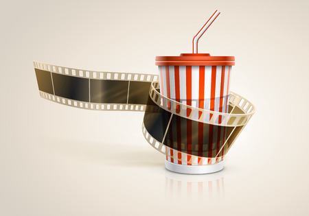 soda pop: Camera film roll and cardboard cup with a straw on blue defocus background. Vector illustration. EPS10.